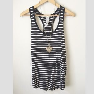 Nwot black and white striped baggy tank top